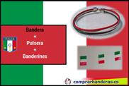 Bandera de Italia + banderines plástico + pulsera