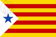 Bandera de Estelada con estrella azul (Usada en algunas manifestaciones estudiantiles de los años 1960)