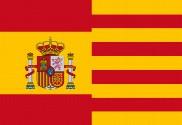 Bandera de España con escudo y Cataluña