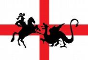 Bandera de San Jorge a caballo y dragón