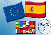 Pack de Pack de 3 banderas, UE + España + Com. Autónoma