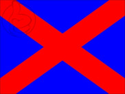 Flag of Blue flag red diagonal cross