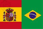 Bandera de España y Brasil