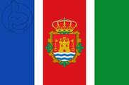Drapeau de la Valencia de Alcántara escudo
