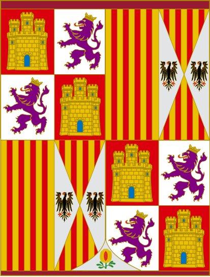 Bandera Pendón heráldico de los Reyes Católicos de 1492-1504