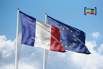 Bandera Francia y Unión Europea