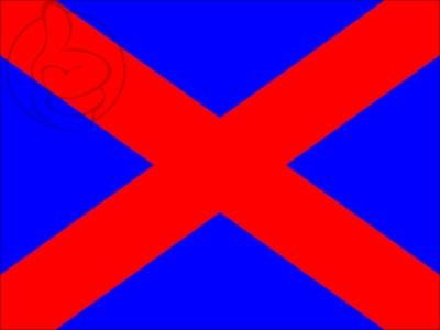 Bandera Blue flag red diagonal cross