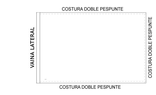 Confección de banderas con vaina lateral