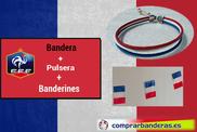 Drapeau de la France + fanions en plastique + bracelet