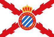 Bandera de RCD Español y cruz de Borgoña