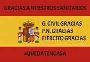 Bandera de España Gracias Sanitarios y Cuerpos del Estado
