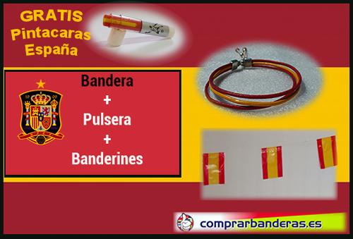 Bandera España + banderines plástico + pulsera