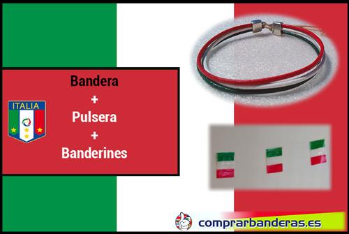 Bandera Italia + banderines plástico + pulsera
