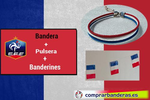 Bandera Francia + banderines plástico + pulsera