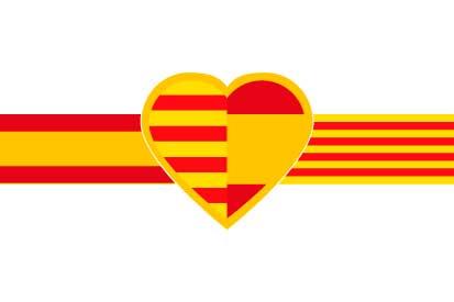 Bandera Corazón español-catalan fondo blanco