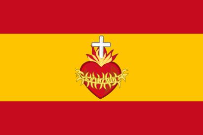 Bandera España con el Sagrado Corazón