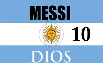 Bandera Messi igual a Dios