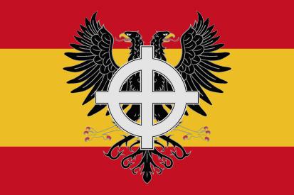 Bandera España cruz celta y águila bicéfala