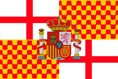 Bandera Tabarnia con escudo de España