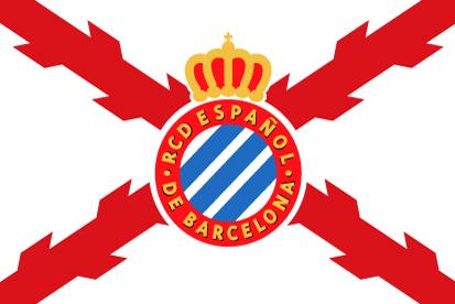 Bandera RCD Español y cruz de Borgoña