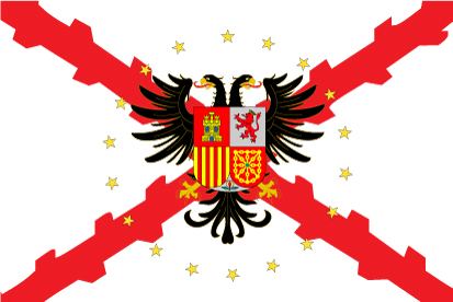 Bandera Borgoña con águila bicéfala y estrellas