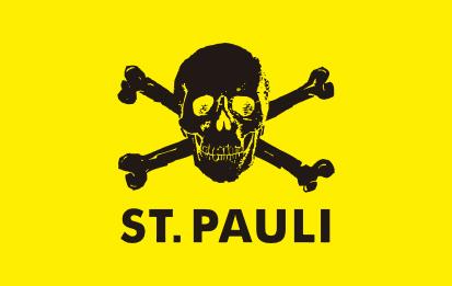 Bandera FC St. Pauli 2 fondo amarillo y calavera negra