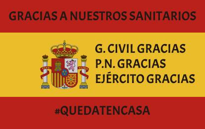 Bandera España Gracias Sanitarios y Cuerpos del Estado