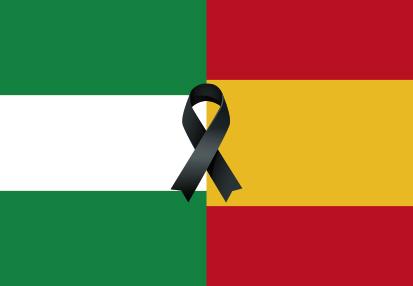 Bandera España Andalucía Crespón negro