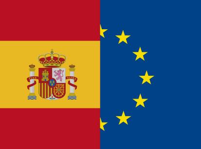 Bandera España y Unión Europea