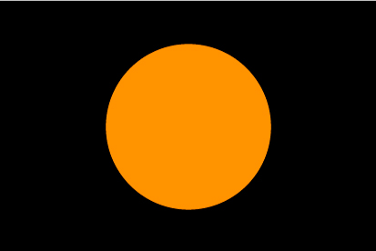 Bandera Bandera negra con círculo naranja
