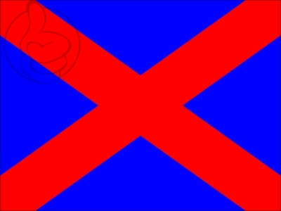 Drapeau Drapeau bleu en sautoir rouge en diagonale