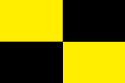 Bandera Black and yellow flag into quarters