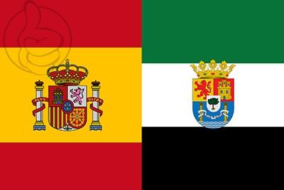 Bandera España y Extremadura C/E