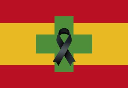 Bandera de España Farmacia Crespón Negro