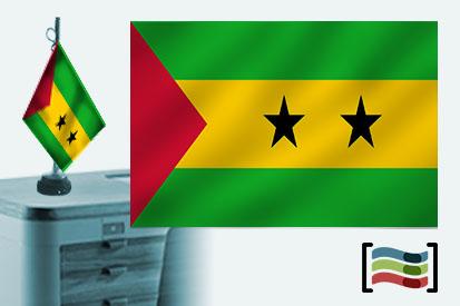 Bandera de Santo Tomé y Principe sobremesa bordada