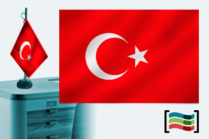 Bandera de Turquía sobremesa bordada