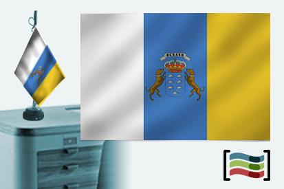 Bandera de Canarias sobremesa bordada