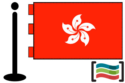 Bandera de Hong Kong sobremesa bordada