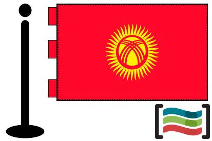 Bandera de Kirguistán sobremesa bordada