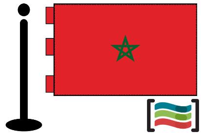 Bandera de Marruecos sobremesa bordada