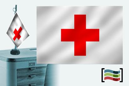 Bandera de Cruz Roja sobremesa bordada