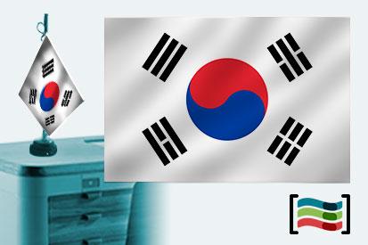 Bandera de Corea del Sur sobremesa bordada