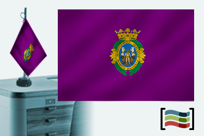 Bandera de Cádiz sobremesa bordada