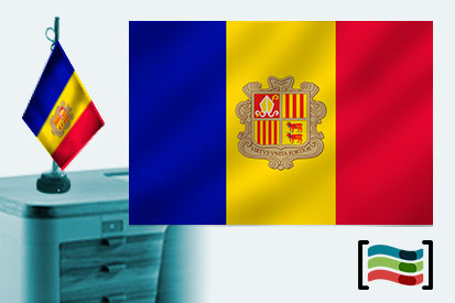 Bandera de Andorra sobremesa bordada