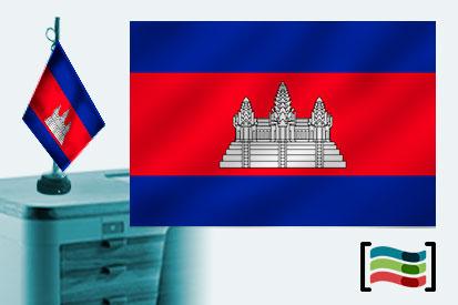 Bandera de Camboya sobremesa bordada