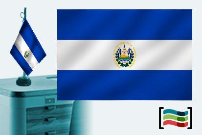 Bandera de El Salvador  sobremesa bordada