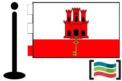 Bandera de Gibraltar sobremesa bordada