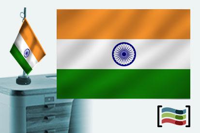 Bandera de India sobremesa bordada