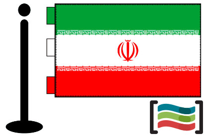 Bandera de Irán sobremesa bordada
