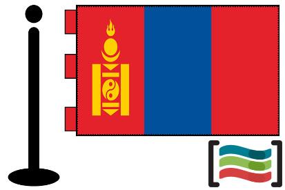 Bandera de Mongolia sobremesa bordada